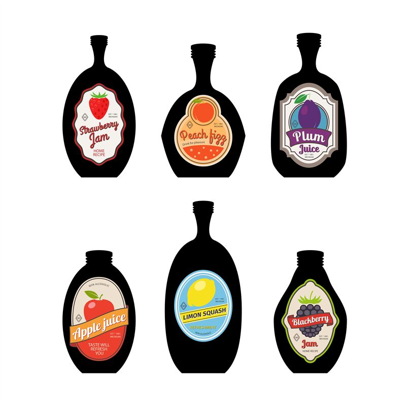 Bottles silhouettes with vintage labels By SmartStartStocker