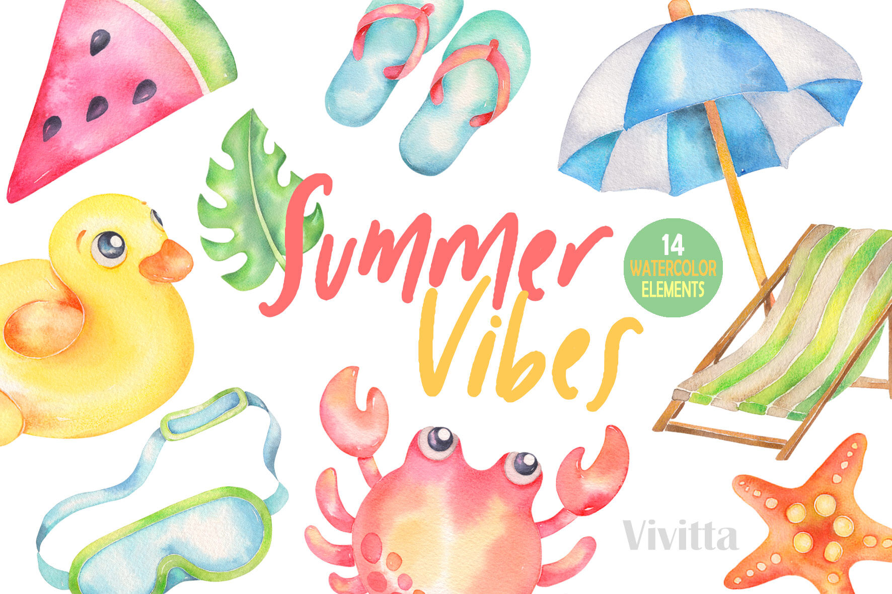 Summer Vibes Watercolor Clipart Beach Pool Elements By Vivitta