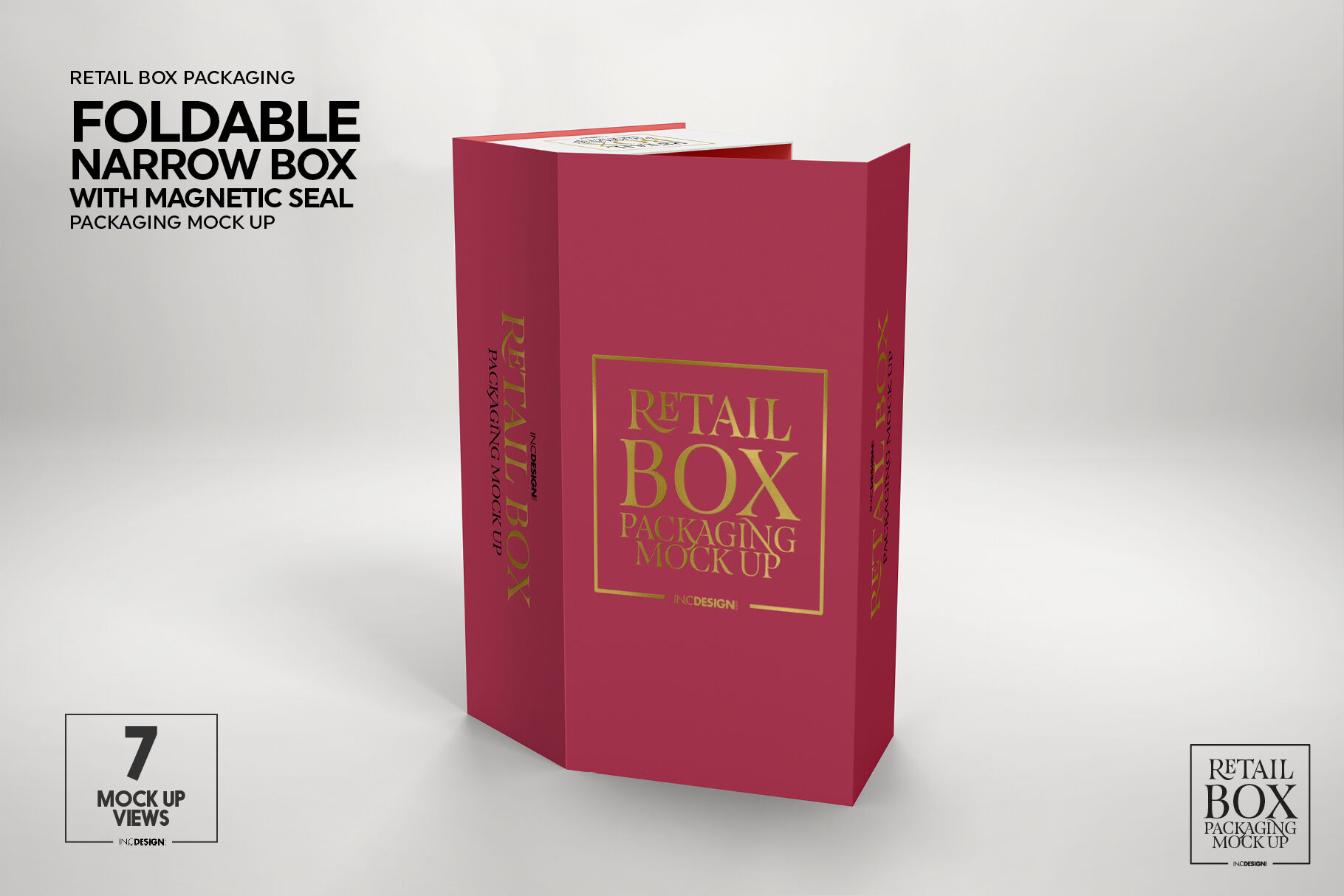 Foldable Retail Box Magnetic Seal Packaging Mockup By Inc Design