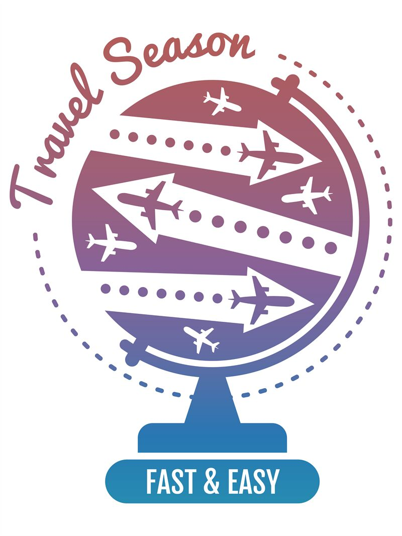 Travel logo design - air fly and globe vacation banner By