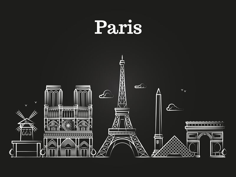 Outline French Architecture Paris Panorama City Skyline Vector By
