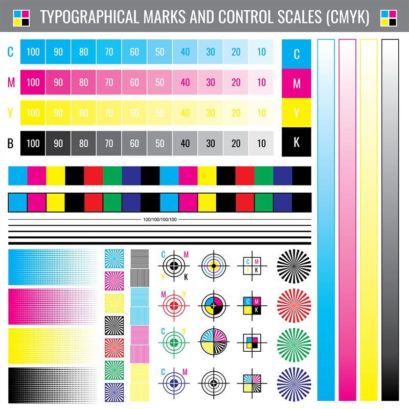 Calibration Printing Crop Marks Cmyk Color Test Vector Document