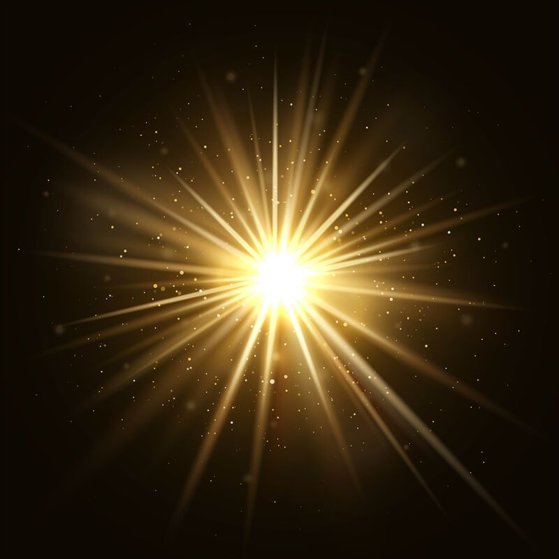Gold Star Burst Golden Light Explosion Isolated On Dark
