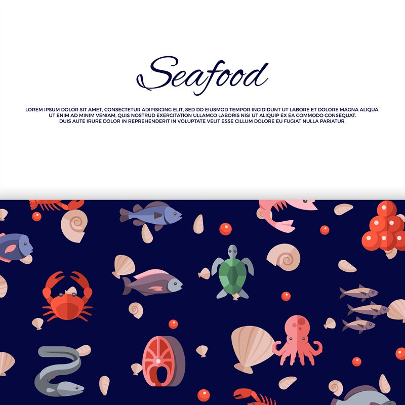 Seafood Banner Design With Bright Caviar Fishes Crabs Salmon By