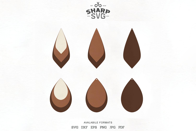 Stacked Earrings Svg Teardrop Leather Earrings Template By