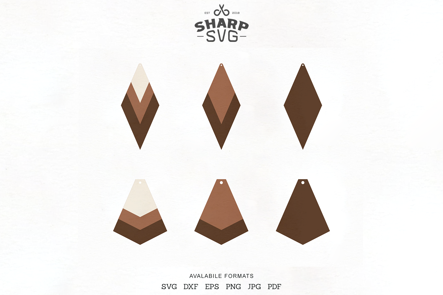 Stacked Earrings Svg Geometric Leather Earrings Templates By