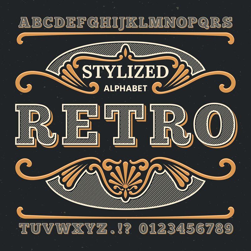 Vintage Western 3d Typography Gothic Retro Vector Type Retro