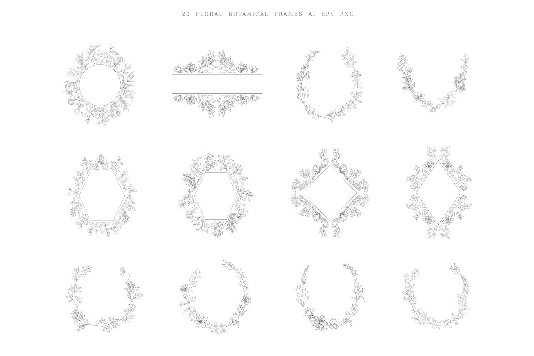Botanical Hand Drawn Designs Logo Frames By Designwork Thehungryjpeg Com