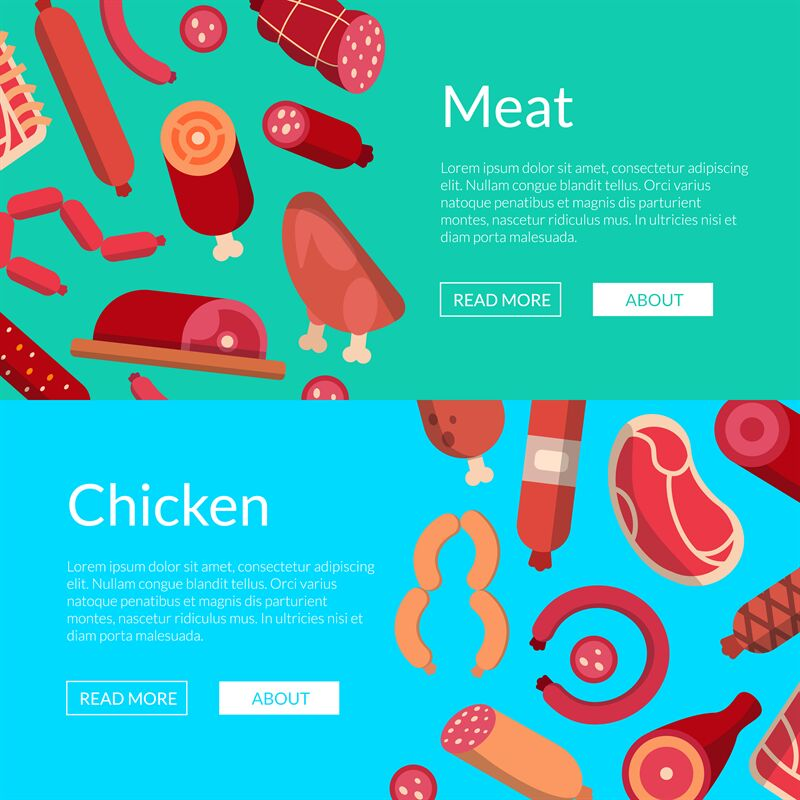 Vector flat meat and sausages icons web banner templates