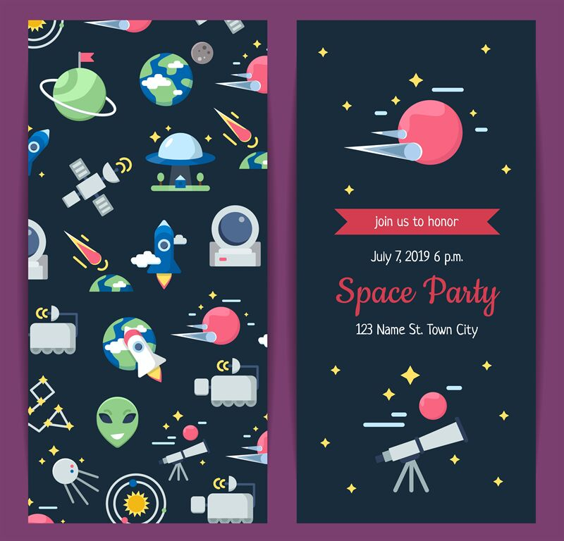 Vector Flat Space Icons Party Invitation Template