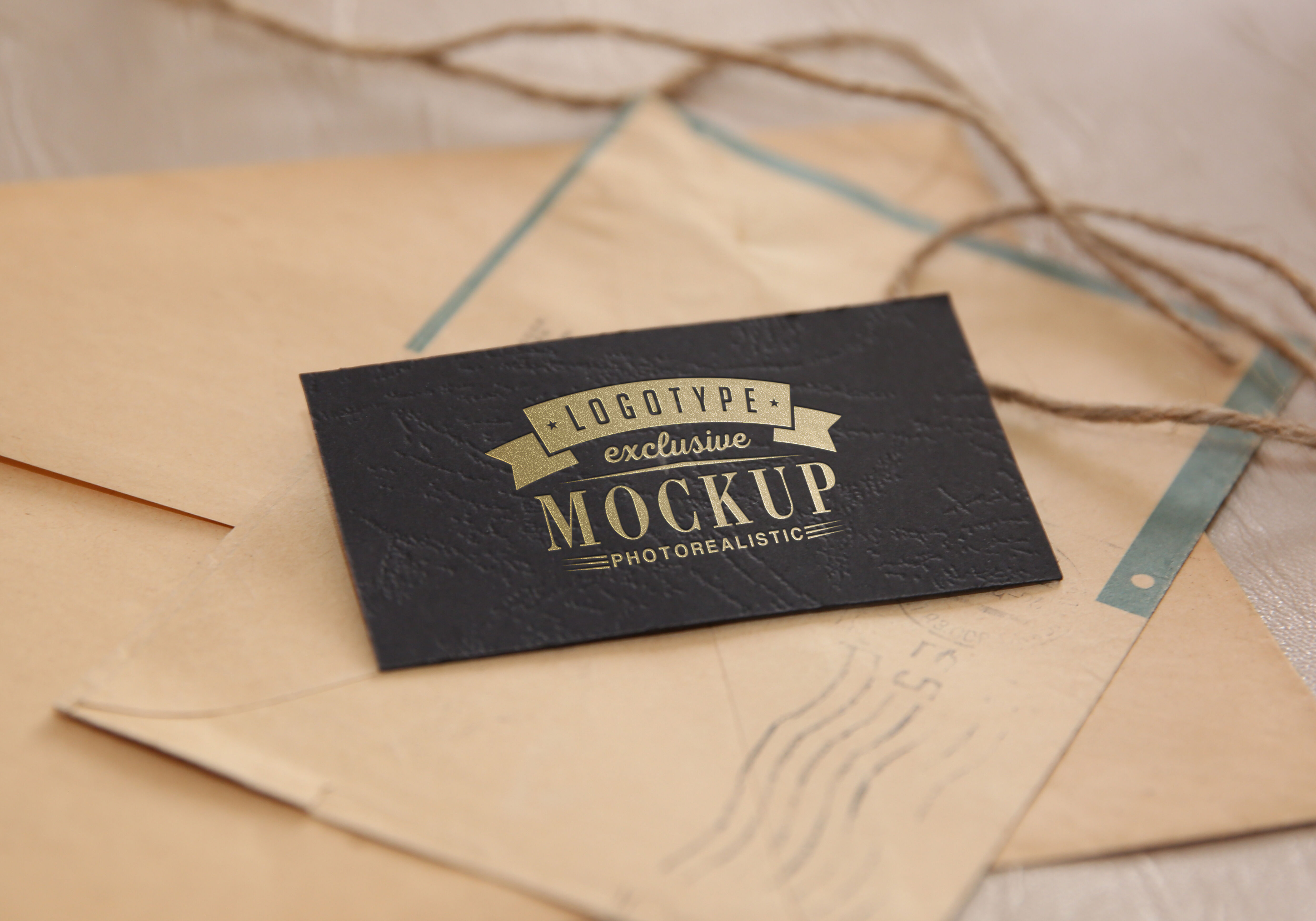 Photo Realistic Mock Ups Vintage Style On Old Envelopes Background
