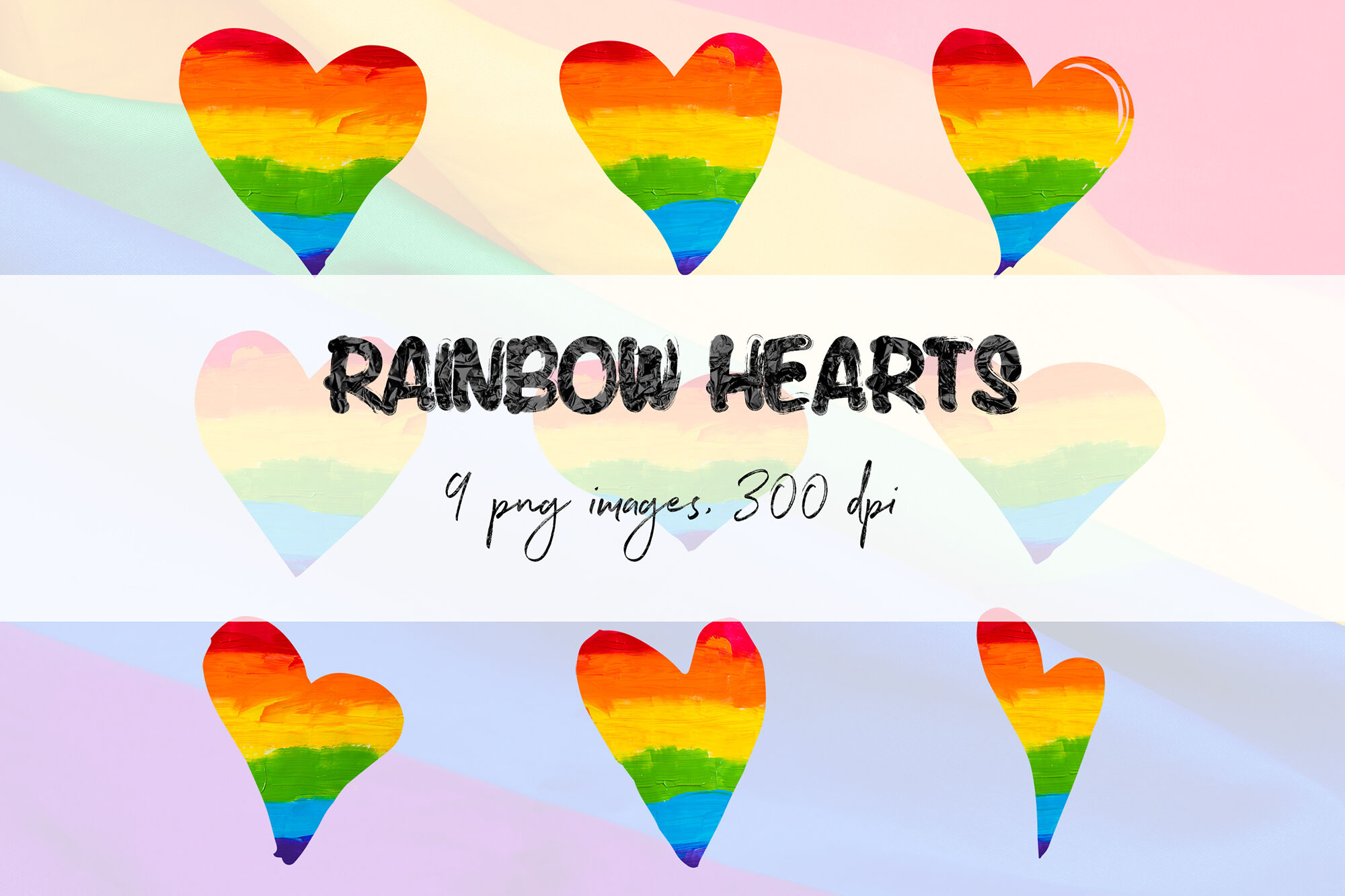 Rainbow Hearts Clipart By North Sea Studio Thehungryjpeg Com
