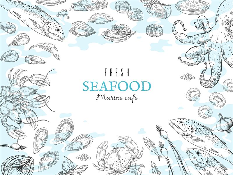 Hand Drawn Seafood Background Fish Restaurant Poster Gourmet