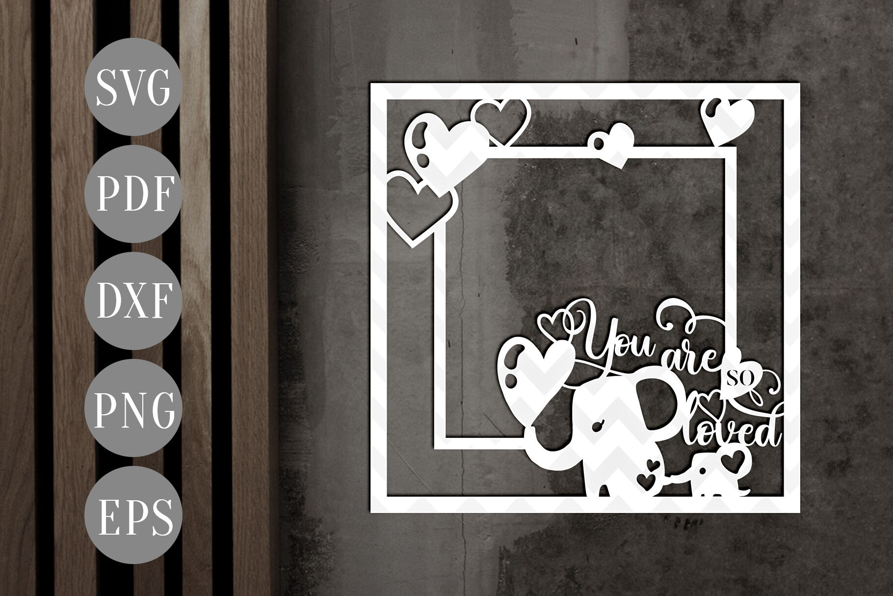 You So Loved Square Photo Frame Papercut Template Baby Svg Pdf