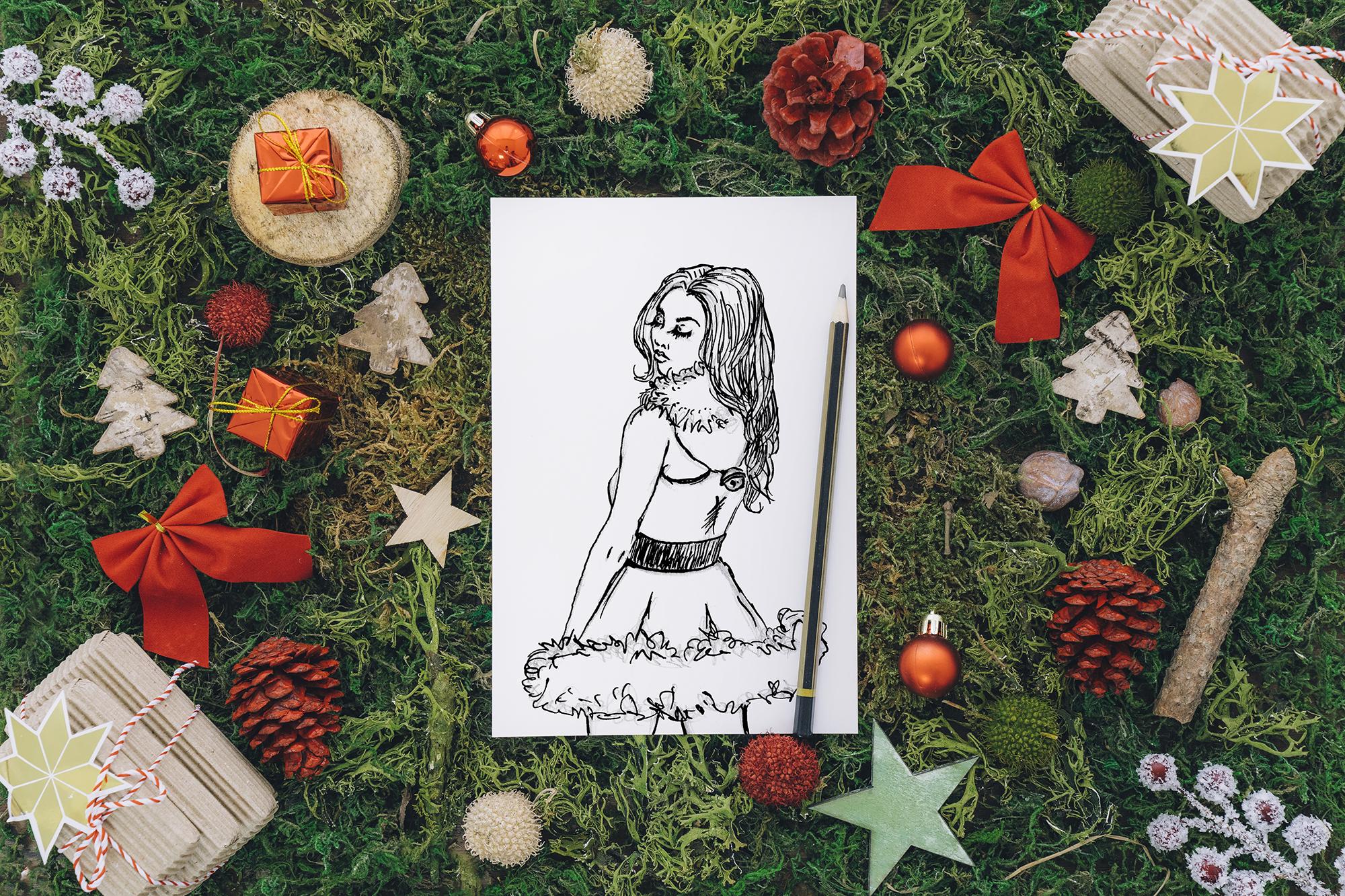 Christmas Santa Dress Girl Clipart By Girl In Design