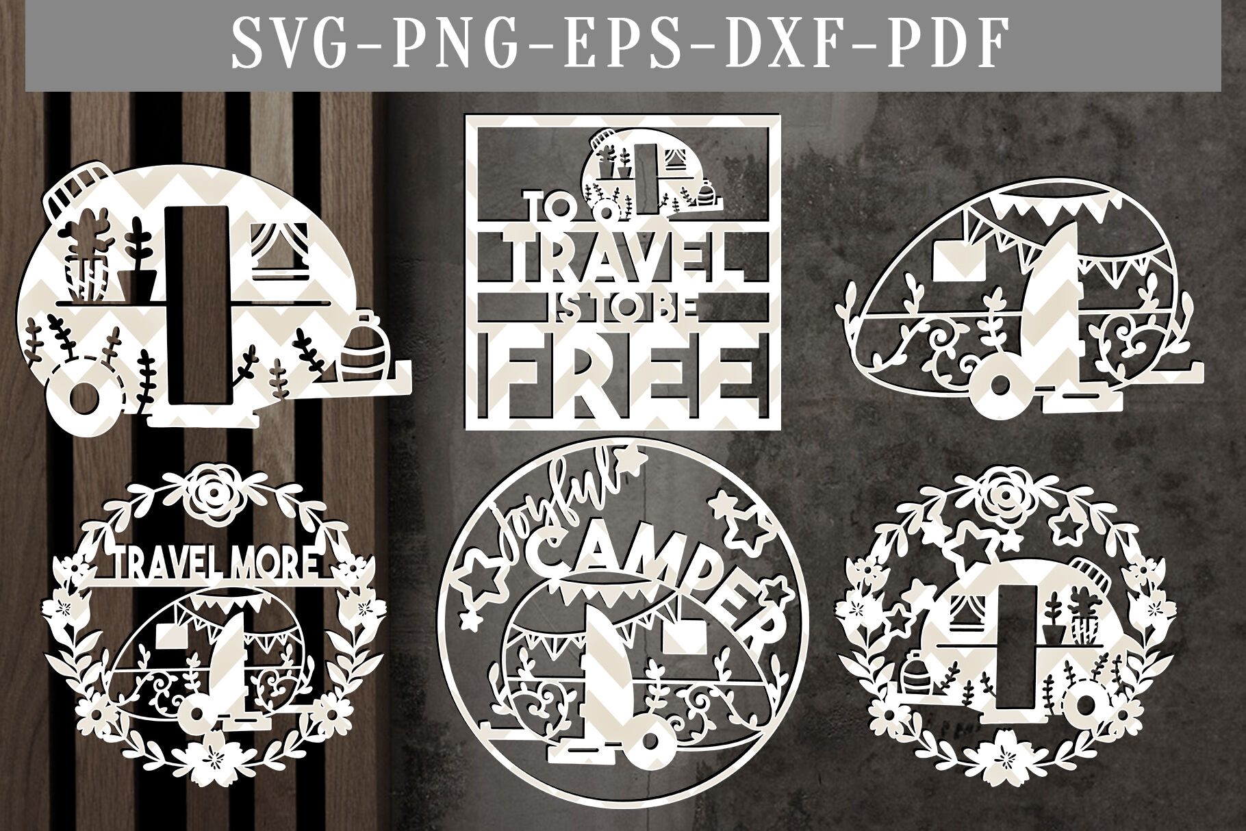 Bundle Of 6 Camper Papercut Templates Summer Svg Pdf Dxf By