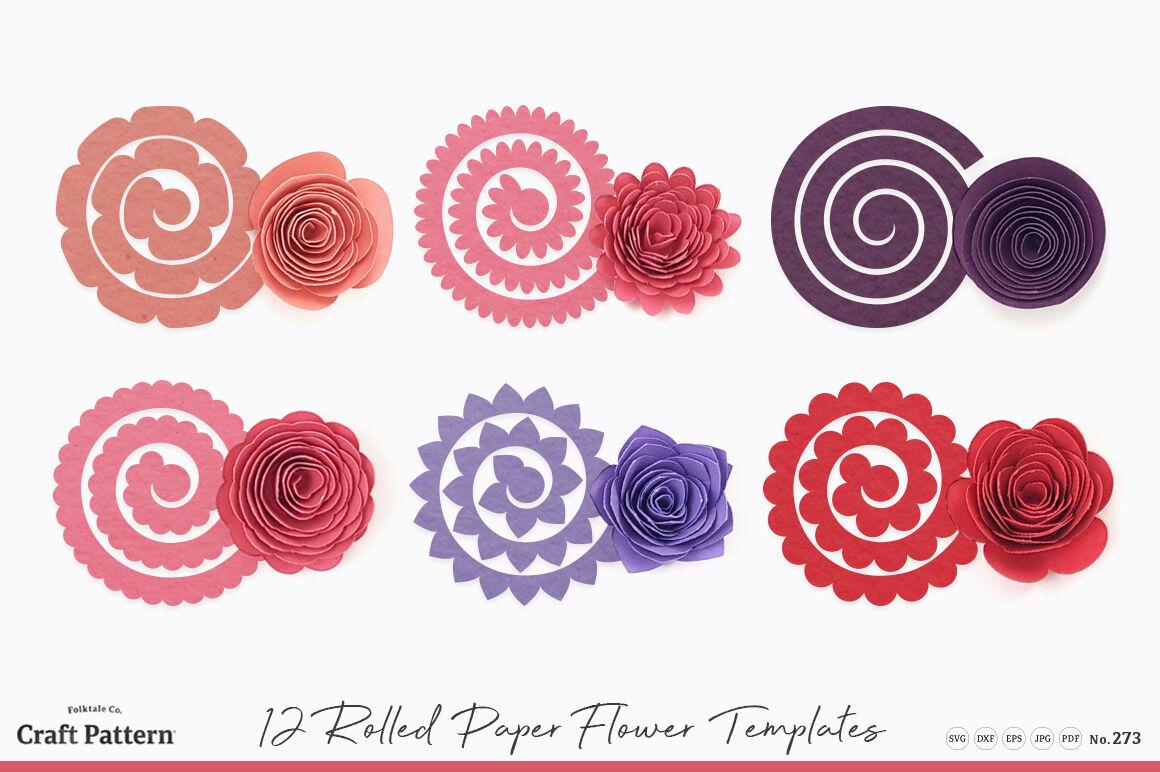 Rolled Flower Templates, 3D Flowers - SVG, DXF, EPS, JPEG ...