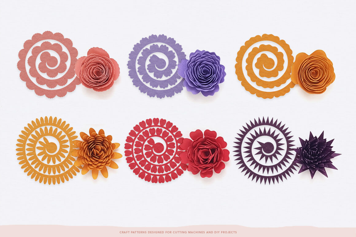 Rolled Flower Templates 3d Flowers Svg Dxf Eps Jpeg Pdf By