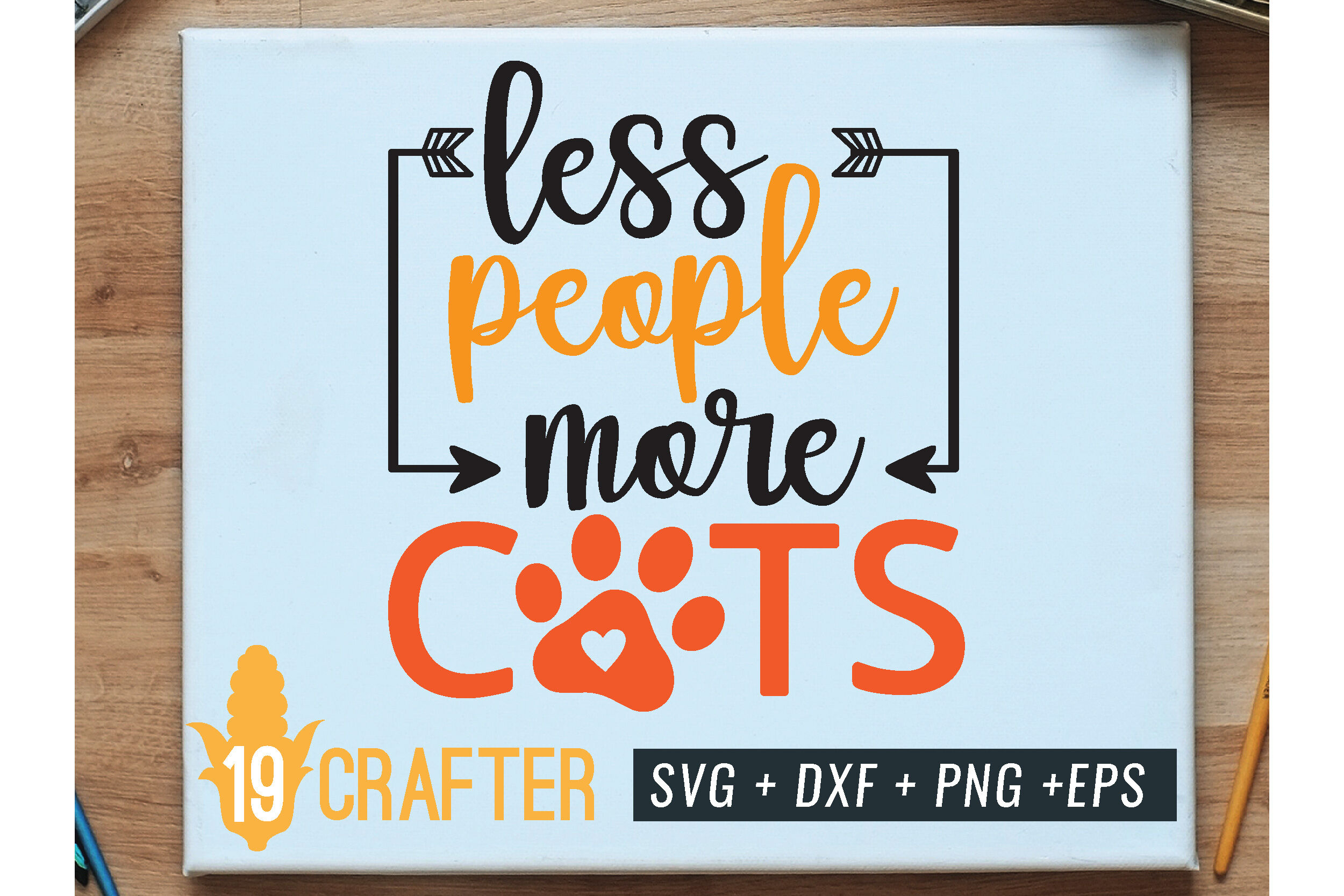 Less People More Cats Svg Cut File By Greatype19 Thehungryjpeg