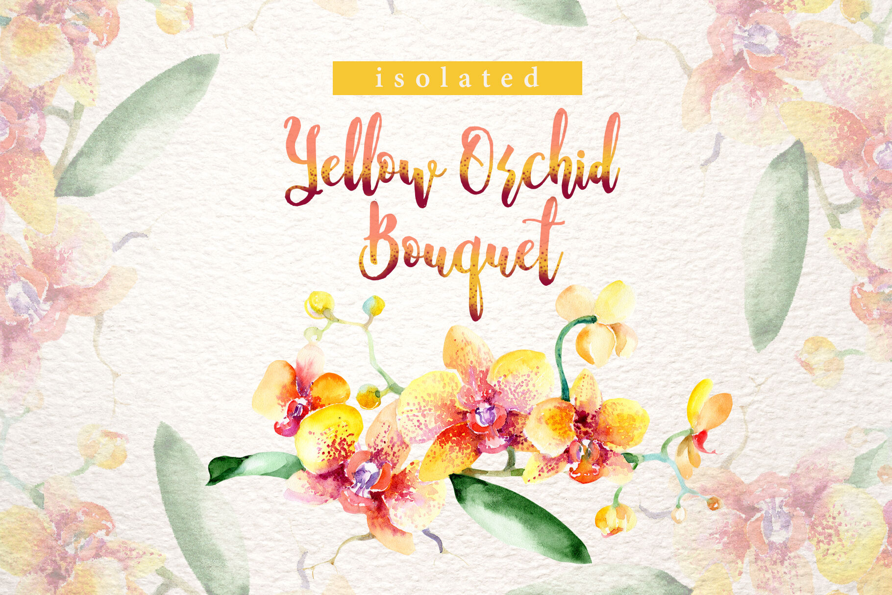 Yellow Orchid Watercolor Clipart Hand Painted Flowers By