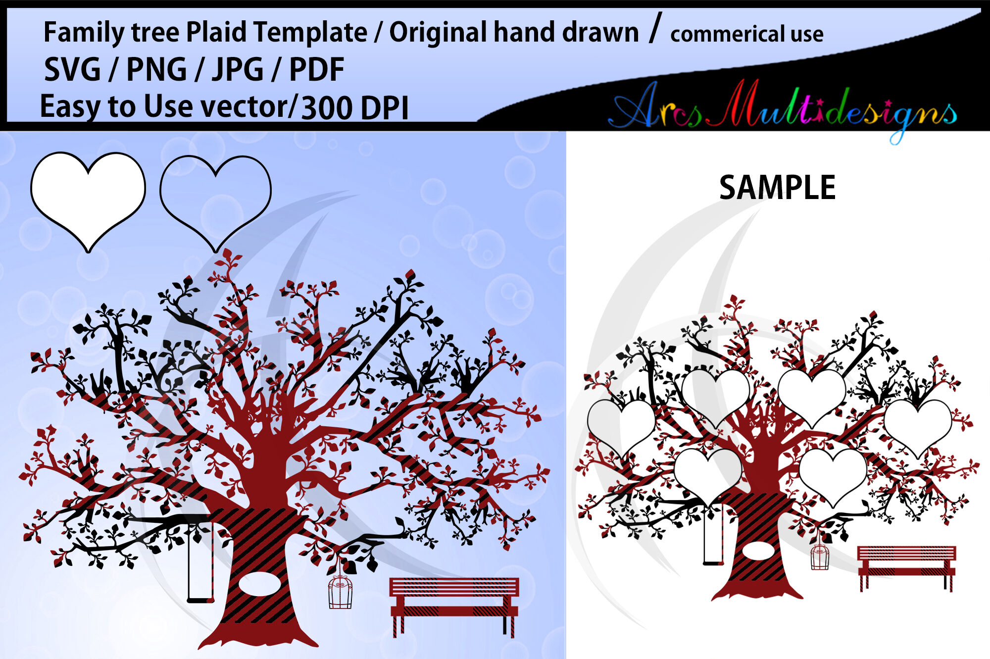 Family Tree Clipart Plaid Svg Template Png Pdf Jpg Family