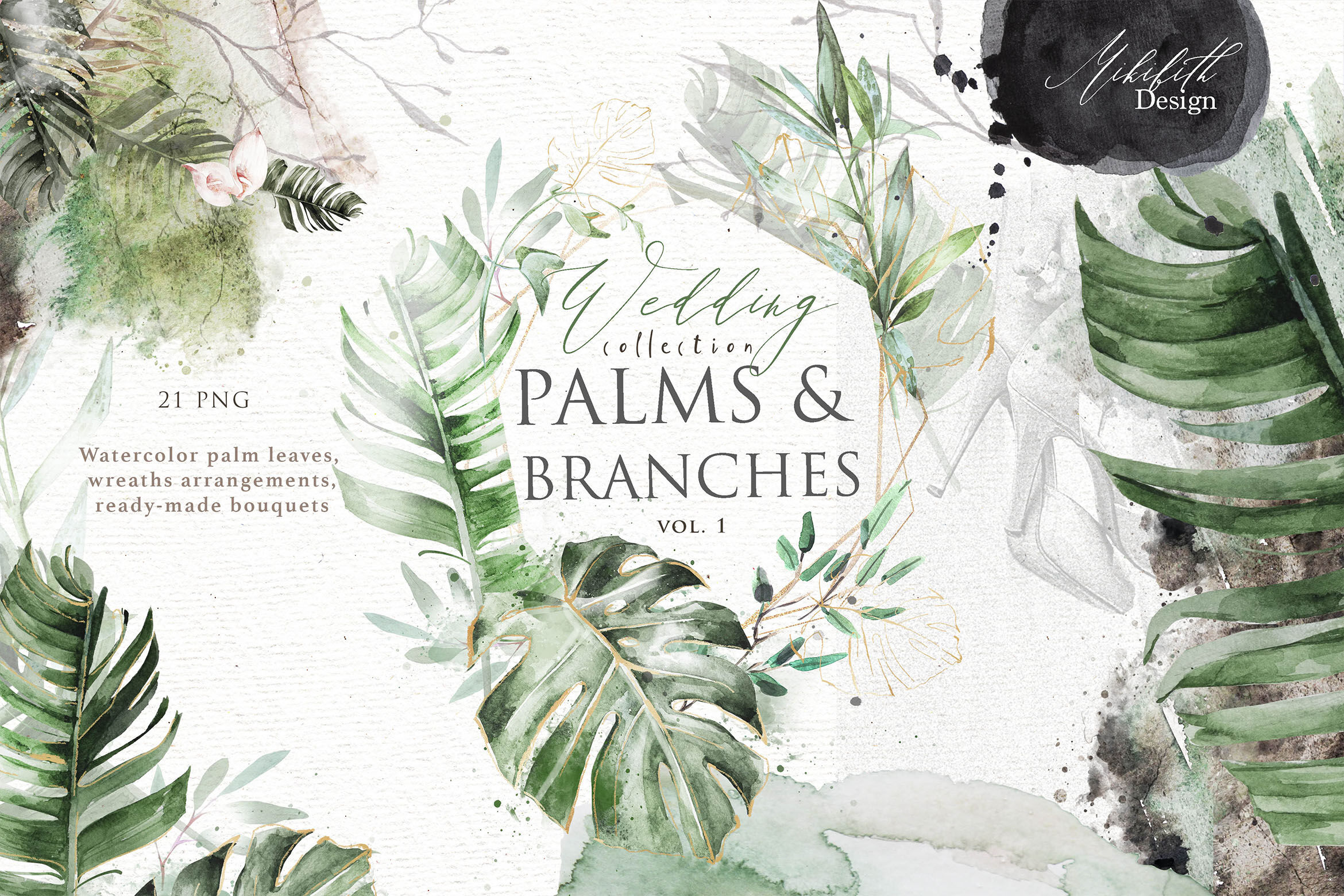 Palm Amp Amp Branches Vol 1 By Mikibith Art Thehungryjpeg Com