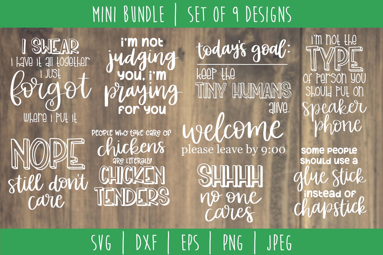 Funny Sarcastic Bundle Volume 2 Set Of 9 Designs Svg Dxf Eps