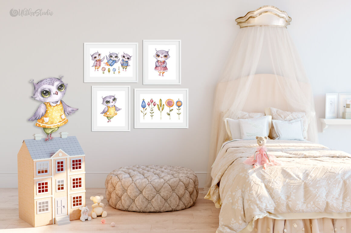 Nursery Forest Life Cute Owls Watercolor Woodland Wild Birds