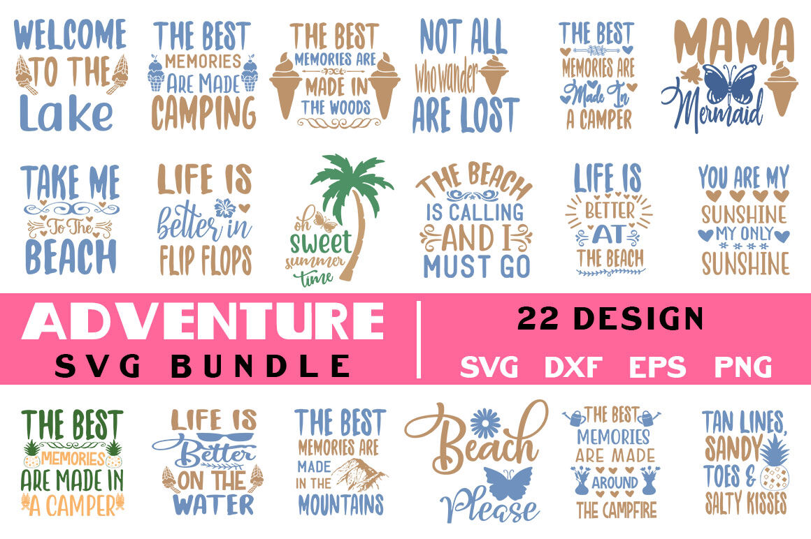 Adventure Quotes Svg Bundle T Shirt Design By Teewinkle