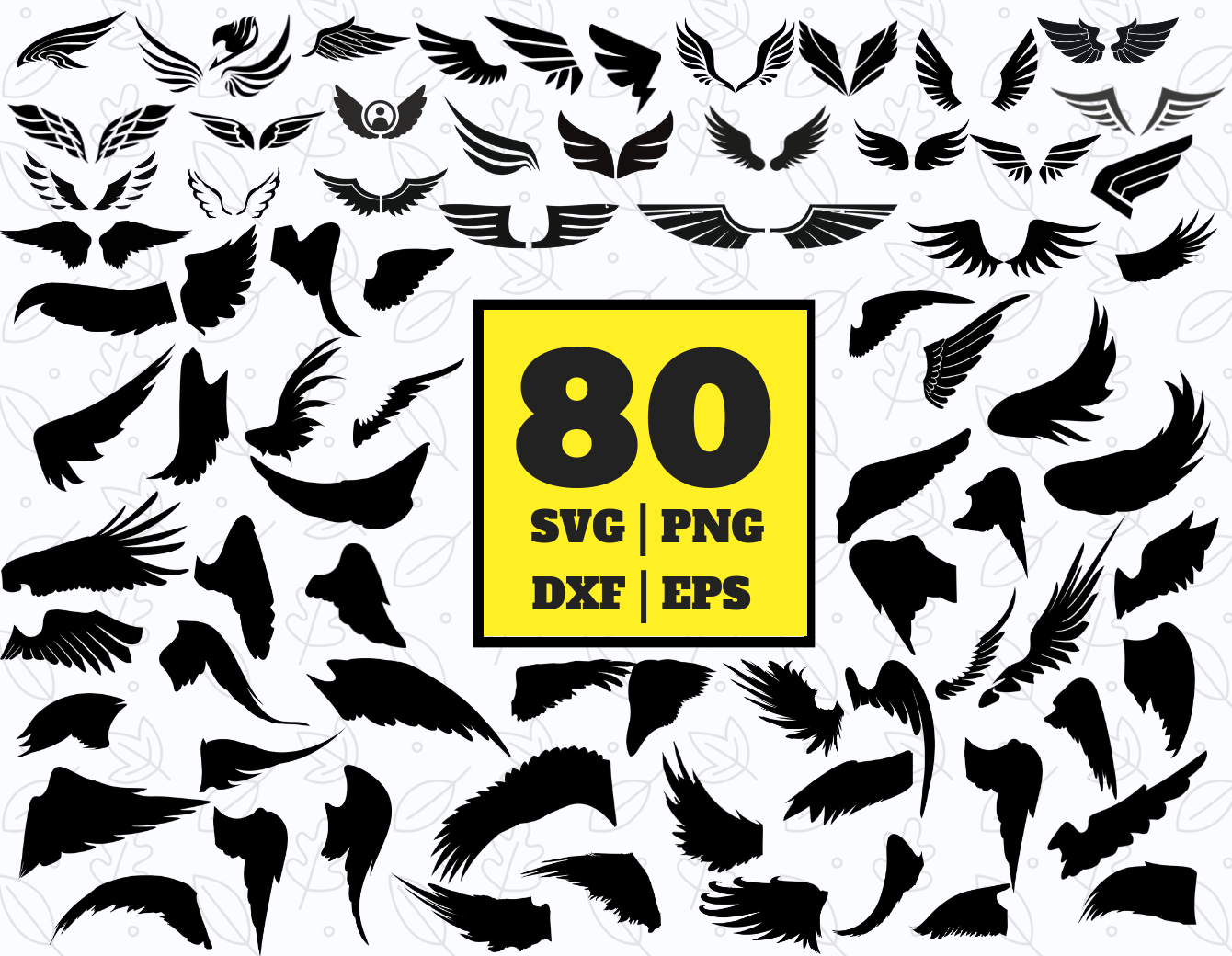 80 Wings Svg Bundle Wings Clipart Wings Vector Wings Cricut