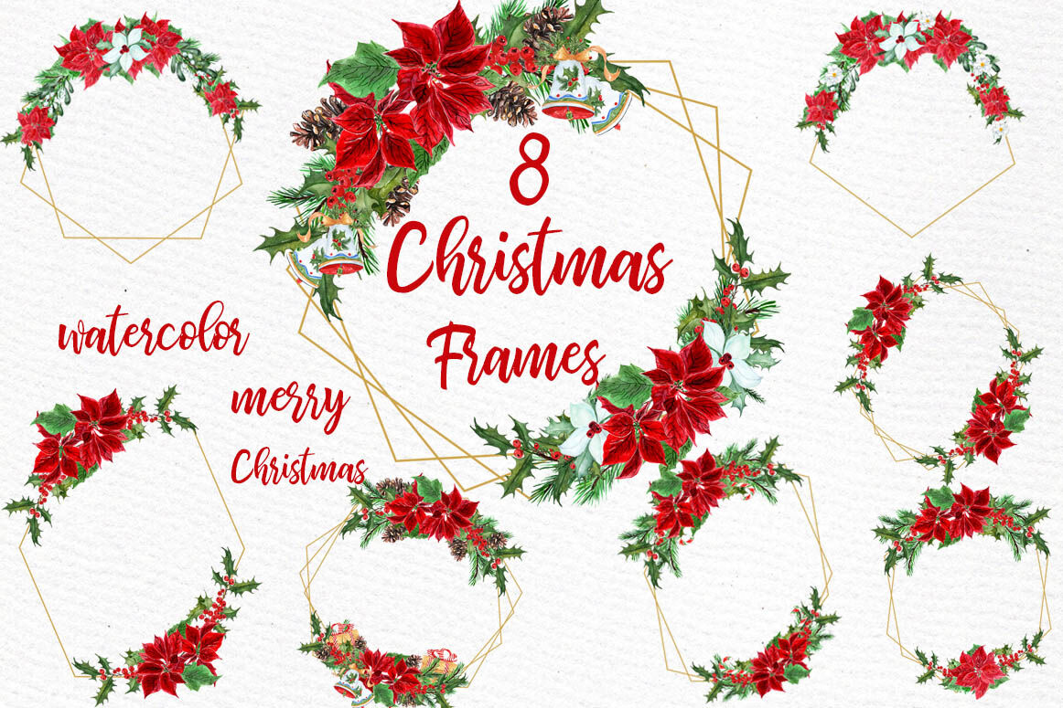 Geometric Christmas Frames Clipart Gold Geometric Frames By