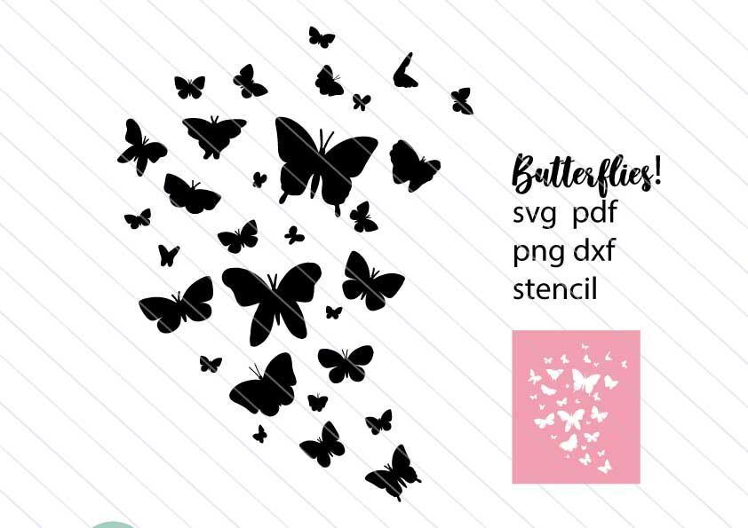 Butterfly Svg Butterfllies Stencil Svg Vector Clipart Silhouette