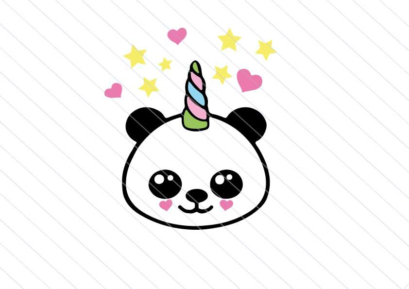 Baby Panda Svg Unicorn Vector Clipart Baby Kawaii Svg Cut Files By