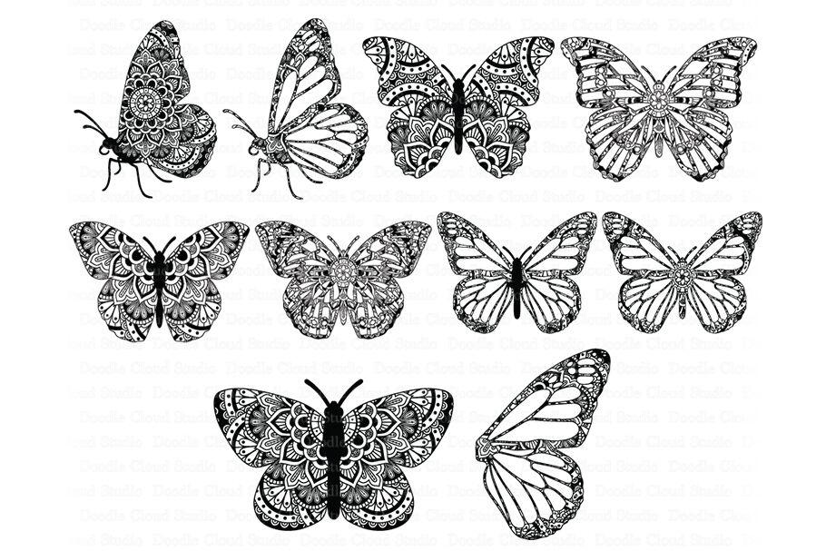 Mandala Butterfly Svg Zentangle Files By Doodle Cloud Studio