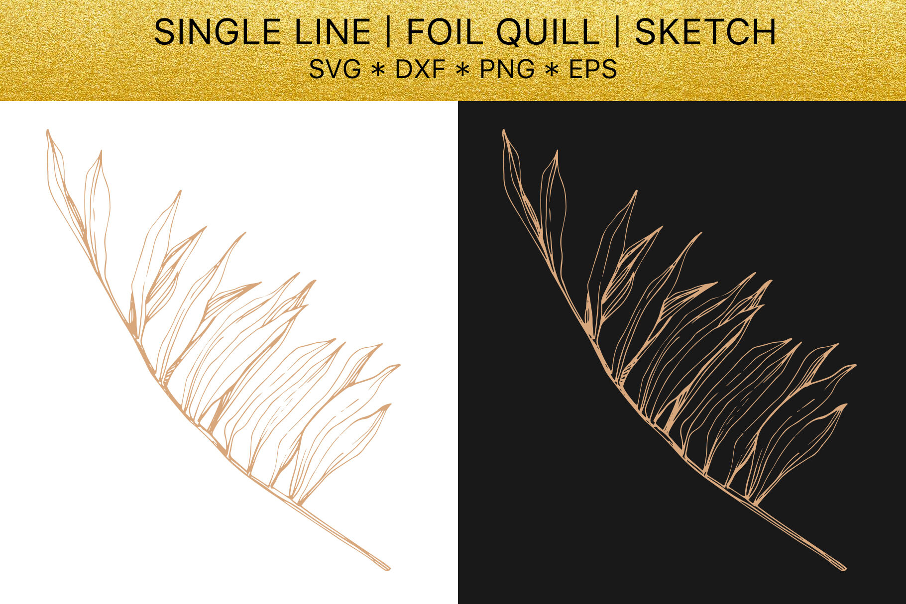 Foil Quill Svg Golden Crystals Single Line Design By Mystocks