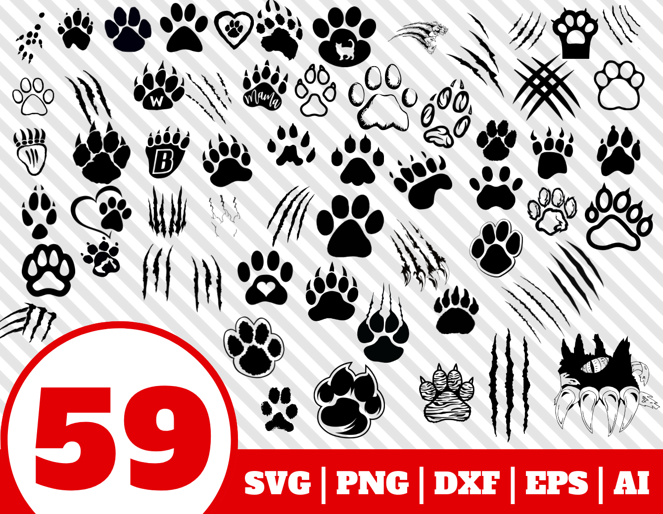 59 Paw Svg Bundle Paw Scratch Mark Clipart Paw Vector