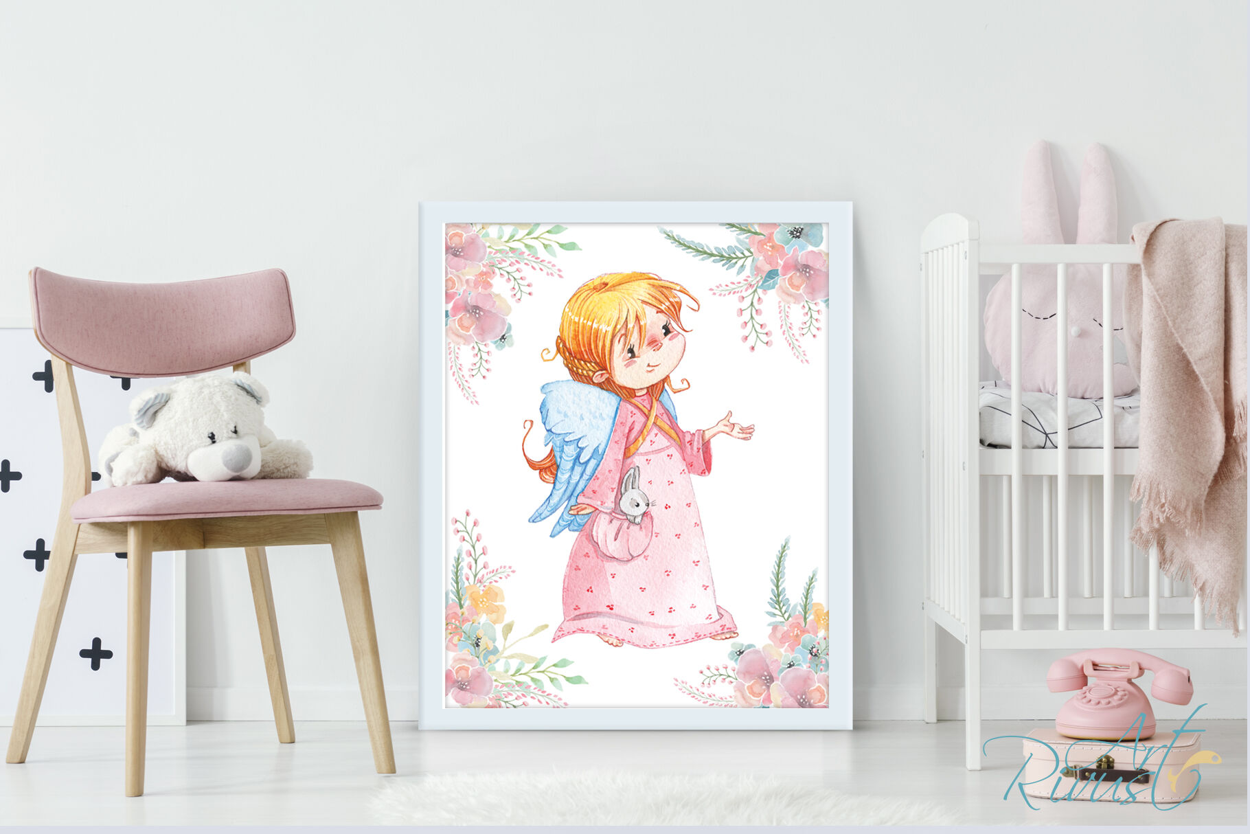 Cute Angel Girl Digital Nursery Prints Nursery Wall Art Baby Girl