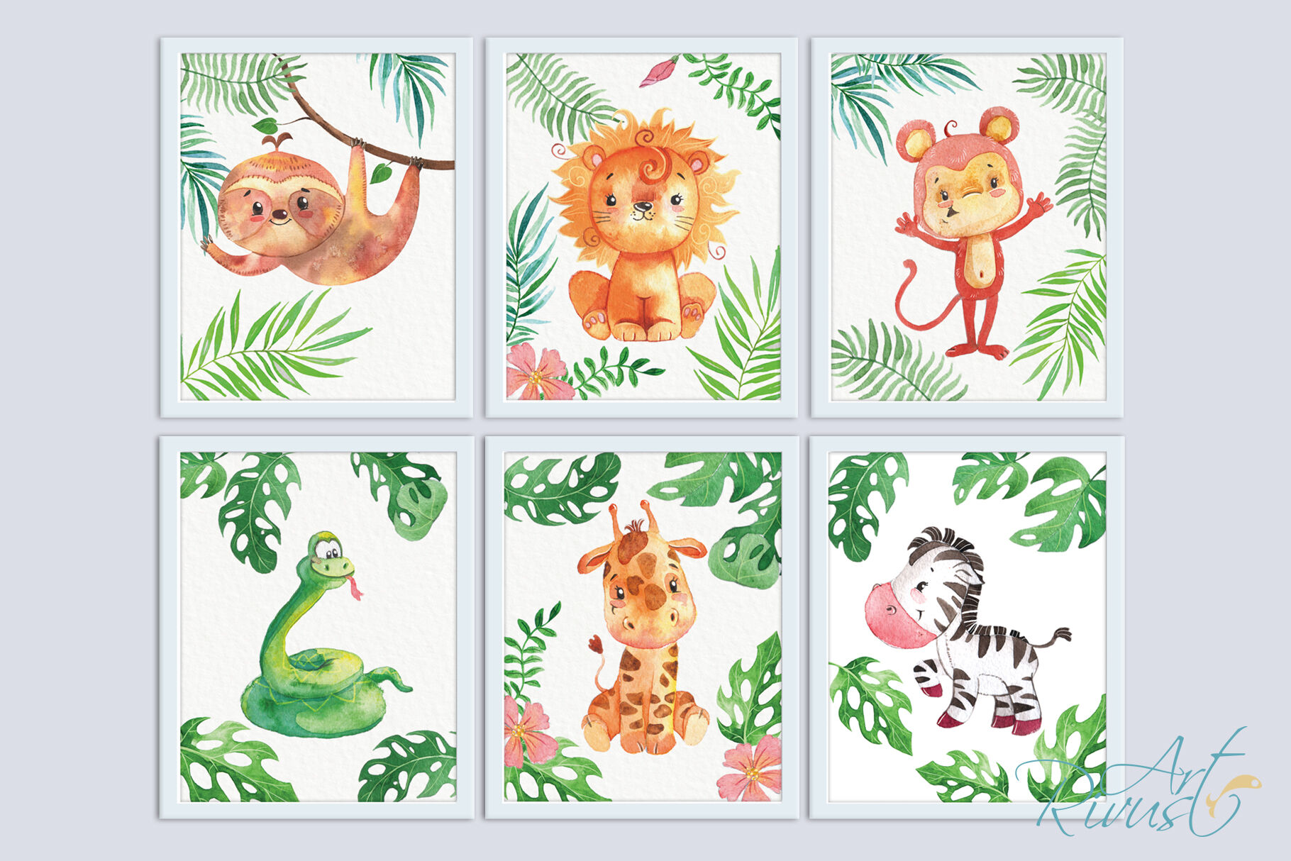 Printable Nursery Art Safari Animals Cute African Wild Animal Wall By Rivus Art Thehungryjpeg Com