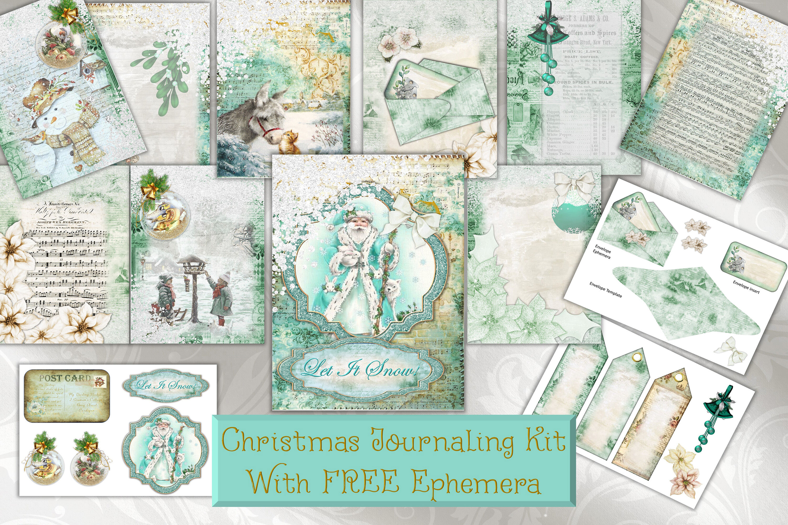 photo regarding Free Printable Ephemera identified as Xmas Printable Journaling webpages with Cost-free Ephemera