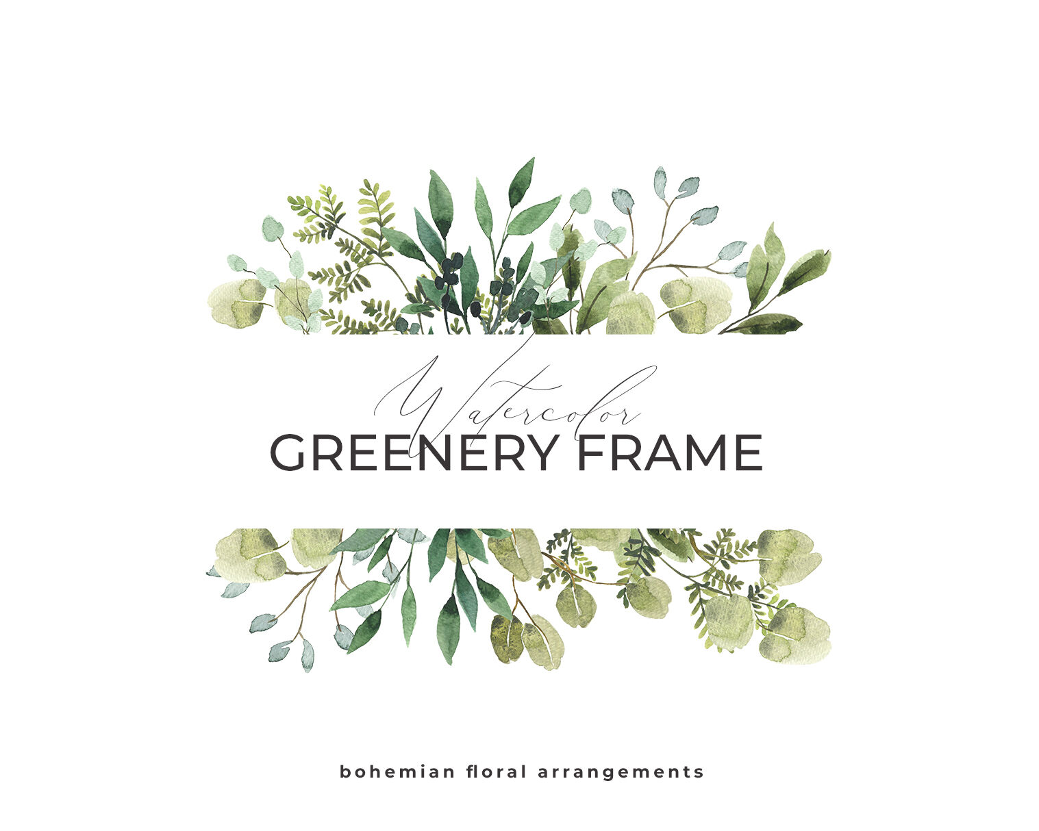 Greenery Frame Watercolor Foliage Green Leaves Floral Logo By