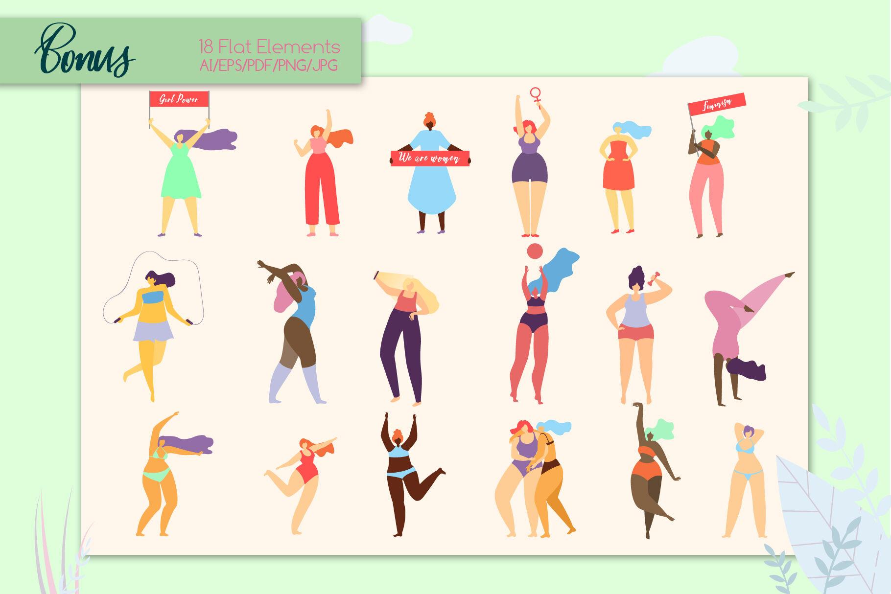 Body Positive Set Illustration By Tera Vector Thehungryjpeg Com