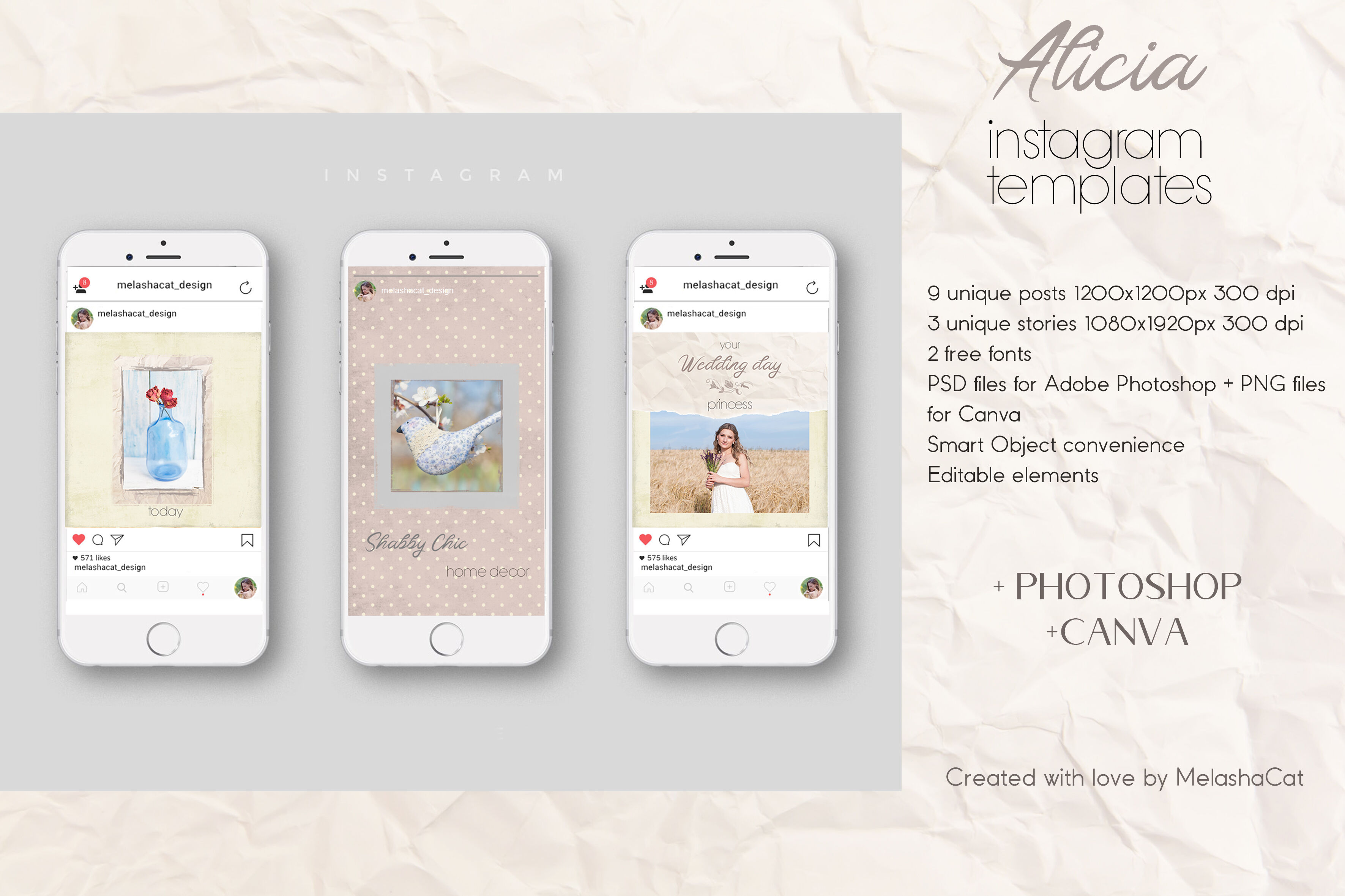 Alicia Instagram Templates 9 Posts And 3 Stories Psd Png By