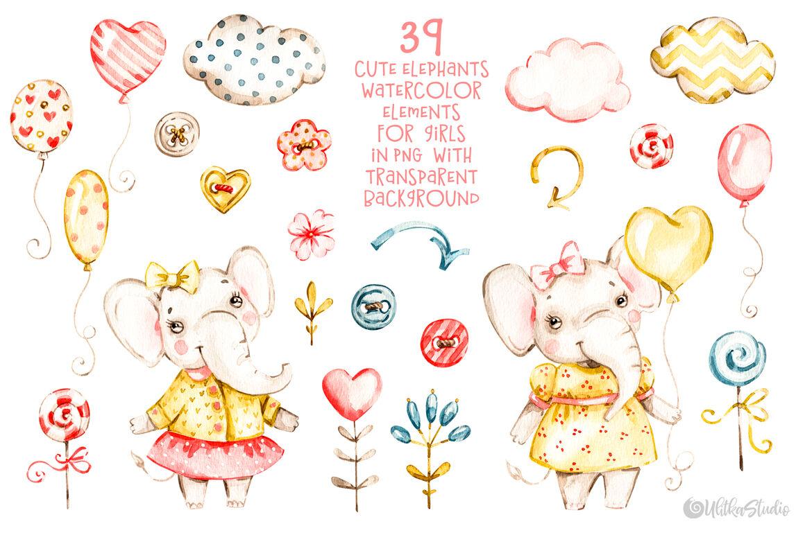 Cute Baby Girls Elephants Nursery Watercolor Clipart Kids