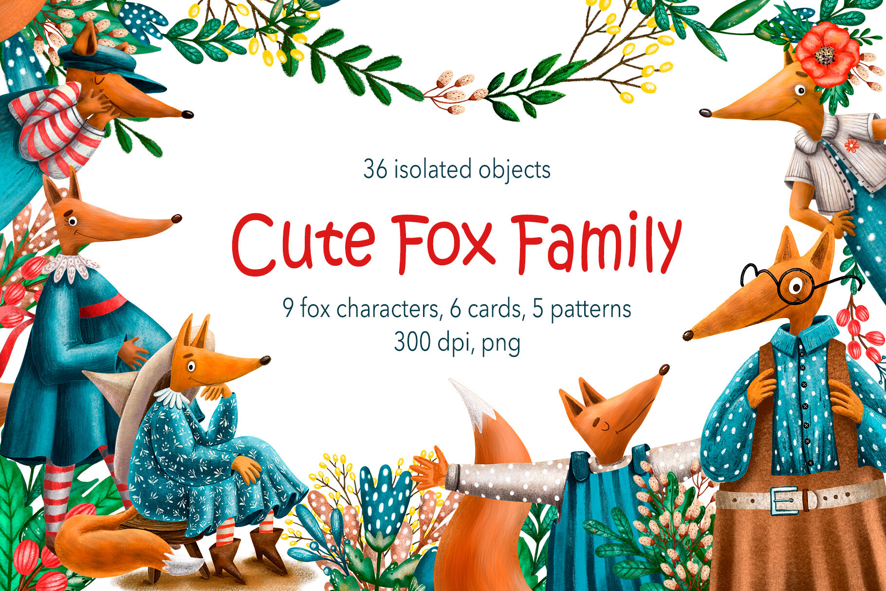 Cute Fox Family Clip Art Set By Mashamashastu Thehungryjpeg Com