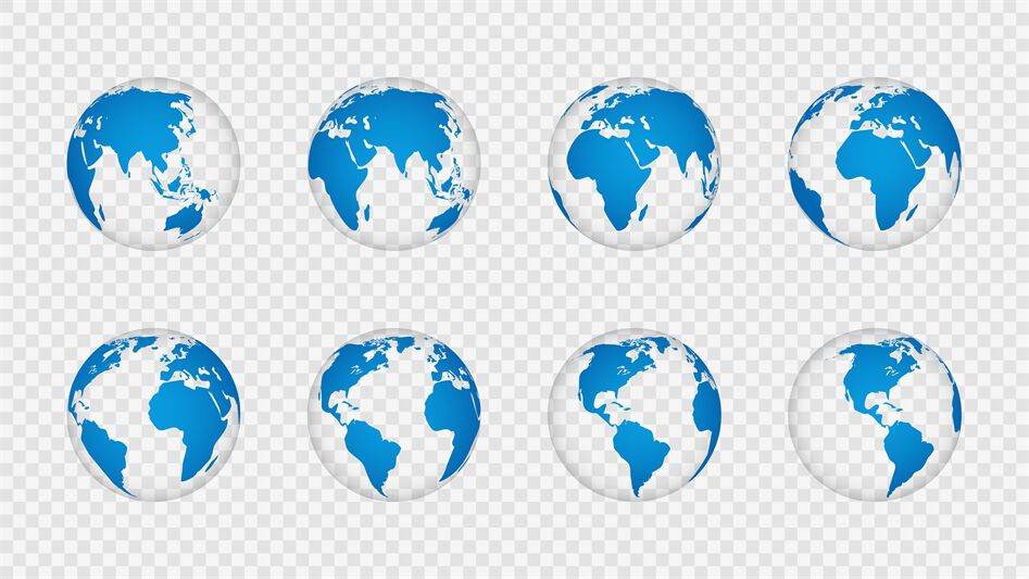 Earth Globe 3d Realistic World Map Globes Continents Planet With