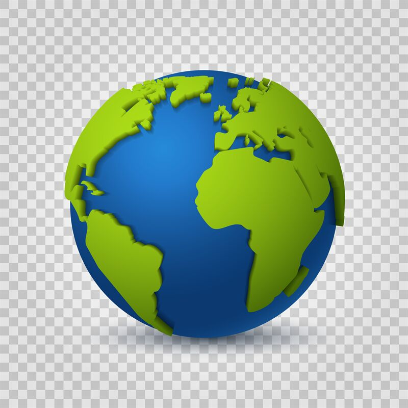 Globe 3d. Earth World Map Of Green Space Planet. Global