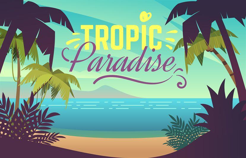 Palm Tree Beach Ocean Sunset With Sand Coast Beach Waves And Palm