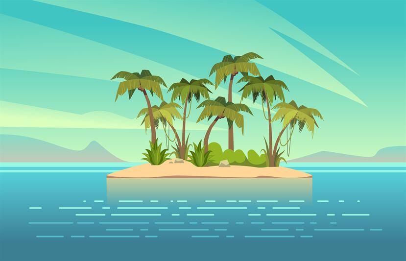 Ocean Island Cartoon Tropical Island With Palm Trees Summer