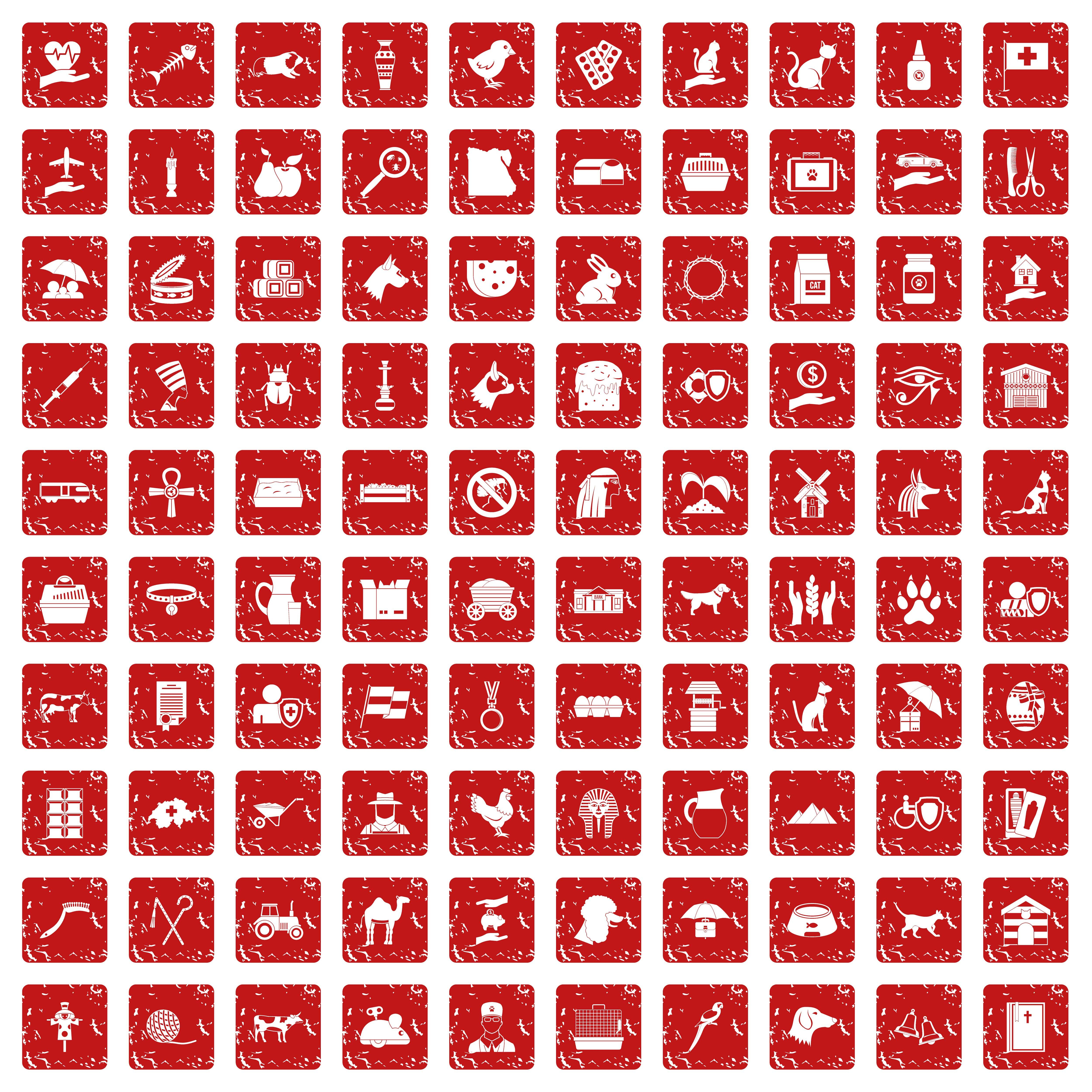 100 Pets Icons Set Grunge Red By Ylivdesign Thehungryjpeg Com