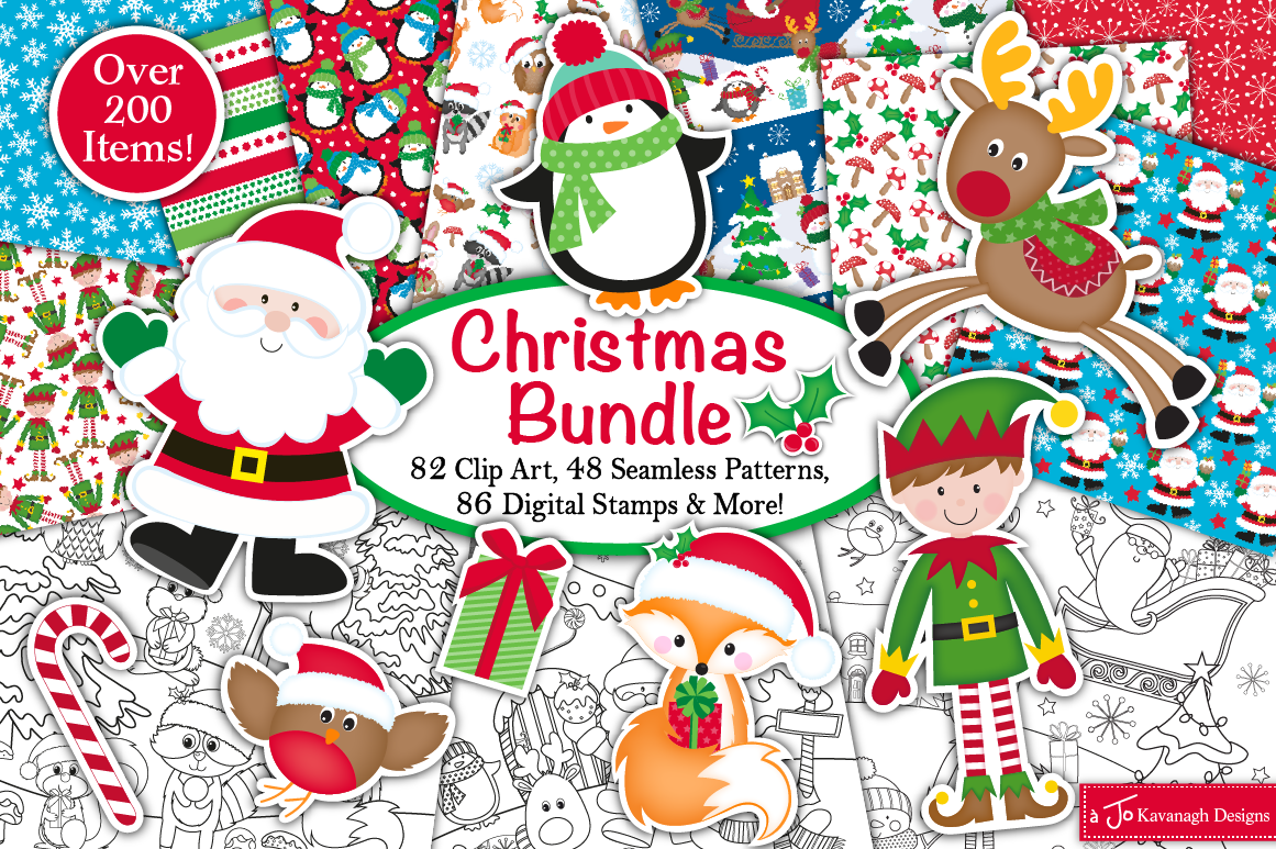 Christmas Bundle Christmas Clipart Chrsitmas Digital Papers By